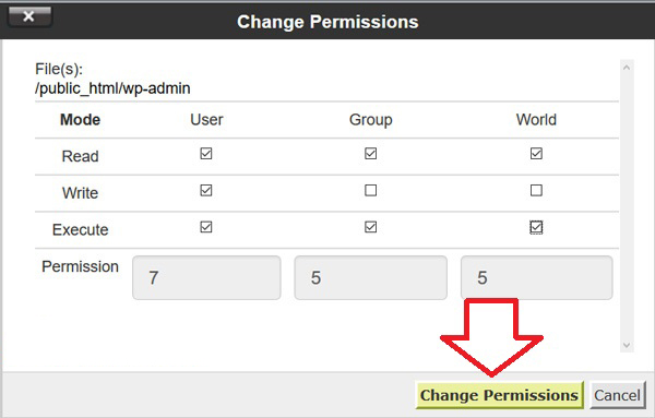 how to change permissions in parallels panel