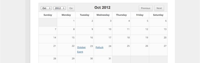 افزونه Sugar Events Calendar Lite وردپرس