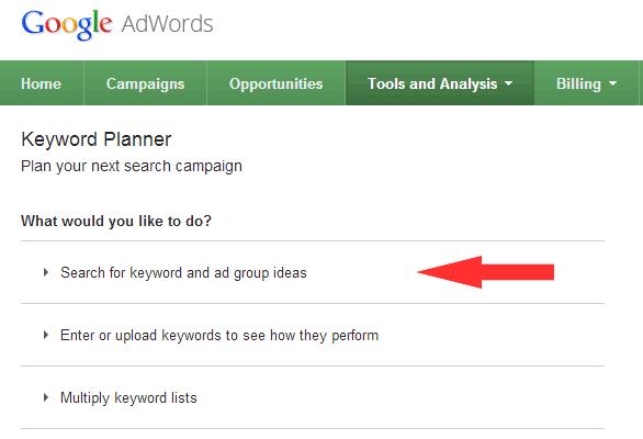جستجوی کلمات در ابزار Keyword Planner گوگل