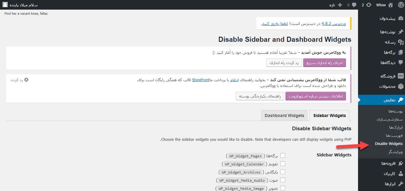 غیرفعال کردن ابزارکهای غیرضروری در وردپرس با WP Widget Disable