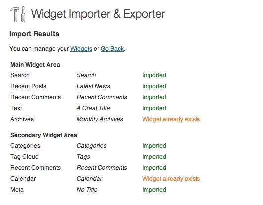 انتقال ابزارک های وردپرس با افزونه Widget Importer & Exporter