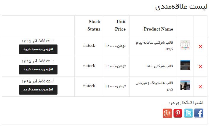 افزودن لیست علاقه مندی محصولات در ووکامرس با Wishlist for Woocommerce