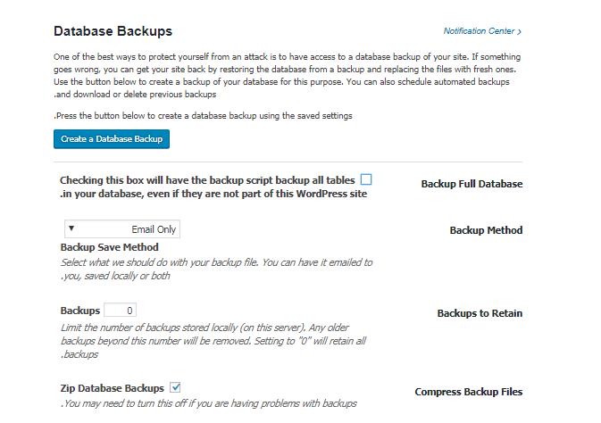 معرفی بخش Database Backups در افزونه iThemes security