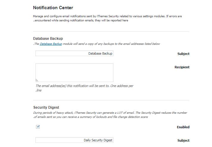 معرفی بخش Notification Center در افزونه iThemes Security