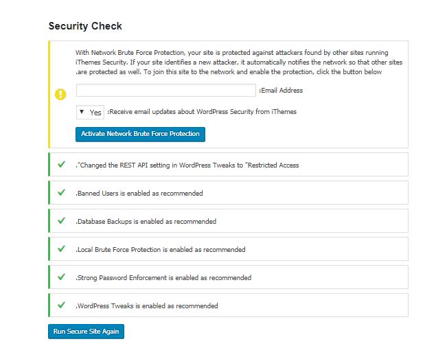 معرفی بخش Security Check در افزونه iThemes security