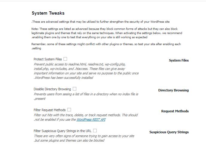 معرفی بخش System Tweaks در افزونه iThemes security