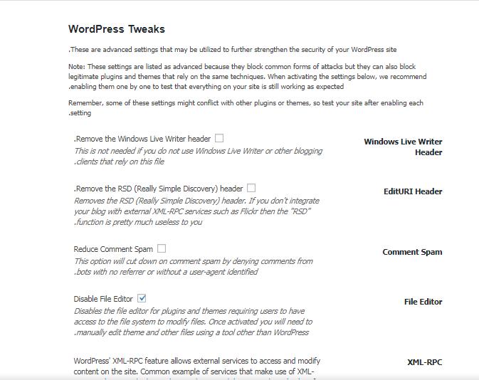 معرفی بخش WordPress Tweaks در افزونه iThemes security