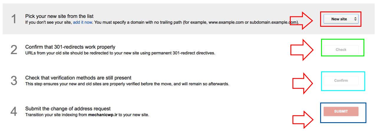 تغییر دامنه سایت در گوگل وبمستر