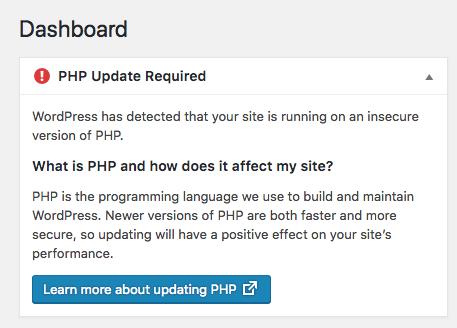 قدیمی بودن نسخه php