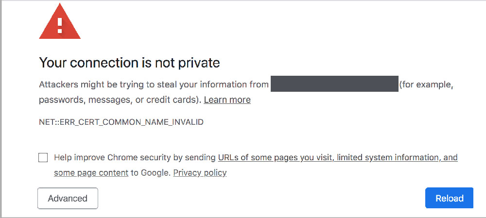 خطای Your Connection is Not Private